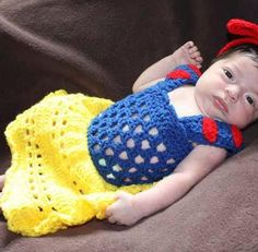 crochet photo prop Disney's Snow White inspired princess dress- newborn-6month sizes. $25.00, via Etsy.