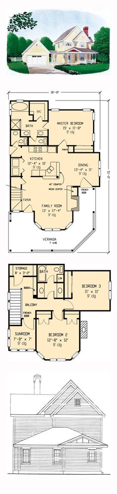 Farmhouse Style COOL House Plan ID: chp-44225   Total Living Area: 1682 sq. ft., 3 bedrooms and 2.5 bathrooms. #farmhouseplan