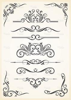 A black scroll set on tan paper stock vector art 16315490 - iStock