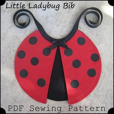 Little Ladybug Bib - PDF Sewing Pattern - Infant Baby Toddler Size by ophelia franks Sewing For Kids, Baby Sewing, Lady Bug, Couture Bb, Diy Bebe, Bib Pattern, Baby Crafts, Pdf Sewing Patterns, Baby Bibs
