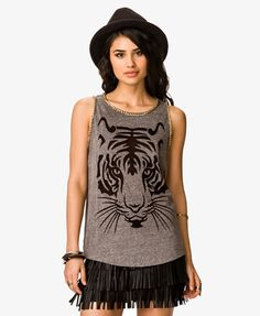 Chain Trim Tiger Muscle Tee | FOREVER21 - 2039614726