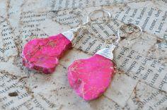 Hot Pink Jasper Slice Sterling Silver Earrings - Handcrafted Earring Hooks - Adrienne Adelle
