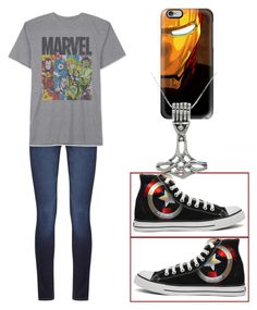 """The Avengers"" by fangirlmendes on Polyvore featuring Casetify, Converse, Carolina Glamour Collection, DL1961 Premium Denim and JEM"