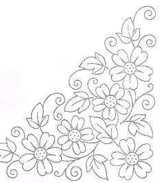 Colour it, sew it, trace it, etc. borders flower embroidery or redwork Embroidery Flowers Pattern, Applique Patterns, Hand Embroidery Designs, Ribbon Embroidery, Flower Patterns, Cross Stitch Embroidery, Machine Embroidery, Beginner Embroidery, Mexican Embroidery