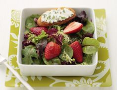 Strawberry Salad  This is one of my favorite summer salad dressings  (Skip the goat cheese crostini to make it vegan!)