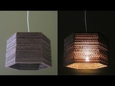 Cardboard lamp DIY (hexagon) - how to make a pendant lampshade from waste cardboard - EzyCraft - YouTube