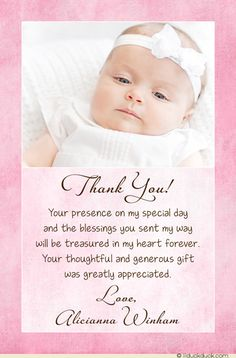 Pink Split Vertical Christening Thank You Card