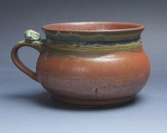 Handmade pottery soup mug ceramic chili mug cereal ice cream bowl iron red 24 plus oz 3882 by BlueParrotPots on Etsy