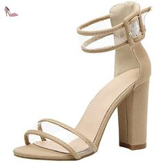 Oasap Women's Open Toe High Chunky Heels Ankle Strap Sandals, Apricot EURO40/US9/UK7 - Chaussures oasap (*Partner-Link)