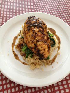 Grilled Cajun Chicken Breast With Quinoa, Sautéed Rapini & Balsamic Vinaigrette