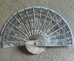 Antique Chinese Fan Bone composition Depicts 8 by DaffyArt on Etsy