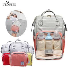 A diaper bag or nappy bag is a storage bag with many pocket-like spaces that is big enough to carry everything needed by someone taking care of a baby while taking a typical short outing. Stroller Bag, Diaper Bag Backpack, Travel Backpack, Large Diaper Bags, Baby Diaper Bags, Nappy Bags, Fashion Bags, Fashion Women, Women's Fashion