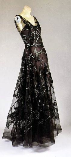 1938 black silk satin and black silk net embroidered with black sequins dress by Madeleine Vionnet, French, via The Metropolitan Museum of Art - @~ Mlle.