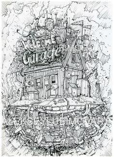 Author Aleksey Lubimov/Flying a garage. #алексейлюбимовбиомеханика #алексейлюбимов #стимпанк #дизельпанк #биомеханика #летающийгород #robot #steampunk #dieselpunk #alekseylubimov #biomechanical #lubimov