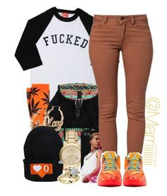 """F*CKED"" by marriiiiiiiii ❤ liked on Polyvore featuring HUF, Burberry, SELECTED and NIKE"