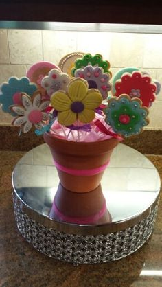 Sweet Sugar Cookie bouquet I made Cookie Bouquet, Sugar Cookies, Planter Pots, Sweet, Shop, Store, Rolled Sugar Cookies
