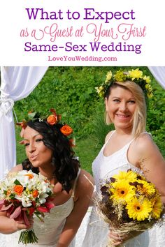 Wondering what to expect as a guest to your first same-sex wedding? We tackled all the questions you've been nervous about asking. Take a look! Wedding Advice, Wedding Themes, Wedding Planning, Mary Lambert, Two Brides, Good Marriage, Bridesmaids And Groomsmen, Dream Wedding, Wedding Inspiration