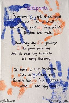 A gift idea for Father's Day. S sweet poem about handprints. Handprint Poem, Crafts For Kids, Arts And Crafts, Poems Beautiful, Educational Activities, Homemade Gifts, Fun Things, Fathers Day, Preschool