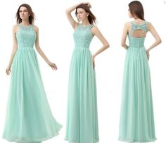 Wholesale Mint Green 2014 New Bridesmaid Dress Formal Party Evening Dress Open back Long Lace&Chiffon Real Picture 2014 New Arrival Prom Dress Free, Free shipping, $68.8/Piece | DHgate Mobile