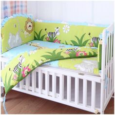 Promotion! 6PCS Lion baby crib bedding set Embroidered /stitching Baby Cot  (bumpers+sheet+pillow cover)