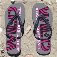 Wild About Softball on Gray Flip Flops - Kick back after a softball game with these great flip flops! Fun and functional flip flops for all softball players and fans.