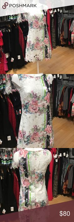 COLLECTION by Donna Ricco Printed Lace Floral Dres Brand:Donna Ricco Material:Lace Size (Women's):16Pattern:Floral Style:ShiftSize Type:Regular Country/Region of Manufacture:VietnamColor:Multi-Color Sleeve Style:Short SleeveDress Length:Knee-Length Donna Ricco Dresses Midi
