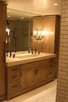 Love this bathroom, now if only I had an ensuite - Concrete Trough Sink www.jmlifestyles....
