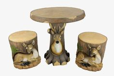 3-Piece Deer and Fawn in Tree Table & Chair Novelty Garden Patio Furniture Set by Four Seasons Home. $379.99. 3-Piece Novelty Garden Furniture SetItem #JF4SG002DGThis table and chair set features a deer and it's fawn that are hanging out in tree trunksRealistic looking tree trunk topsIncludes 2 chairs and one tableSome minor assembly required (no tools needed)For indoor/outdoor use - will not fade, rust or mildewEasy to clean - wash with mild diluted soap and water Dim...