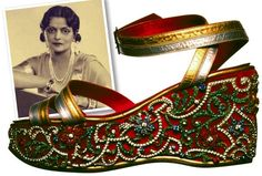 Custom made Salvatore Ferragamo wedge sandals crafted Maharani Indira Devi of Cooch Bihar, in 1938. The Maharani was an ardent fan of Western lifestyle and a bespoke shopper of European luxury houses. She commissioned Salvatore Ferragamo to create this show with a gold and silver kid and satin top. The velvet cork wedge was studded with diamonds and other precious gems sent over by the Maharani from India.