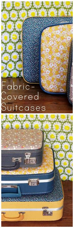 DIY Update an Old Suitcase with Vintage or Retro Fabric (great for storage)