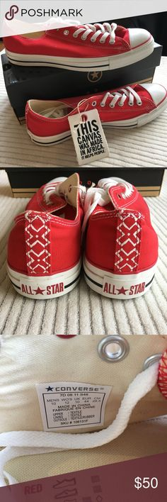 Converse Product Red Low Top Canvas Sneakers Sz 10 Brand:  Converse All Star Size:  10 Color:  Red Style/Specifics:  Converse Product Red - Low Top Canvas Sneakers  - Size 10 Converse Shoes Sneakers