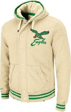 8a858e52320 Philadelphia Eagles Mitchell   Ness Vintage Off Tackle Button Zip Hooded  Heavyweight Sweatshirt