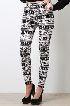 Put together a stylish look with the Pleasant Frost Leggings. These leggings feature smooth stretch knit, fair isle print, elasticized waistband, and finished with stitching detail
