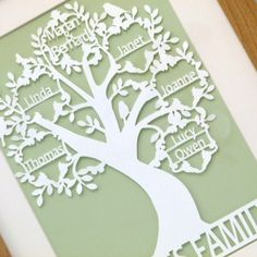 Beautiful family tree original papercut, the family tree will be altered to fit in the number of names required, and family groups. A message or