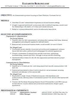 sample function resume for an administrative assistant with focus on client relations customer service - Sample Of A Functional Resume