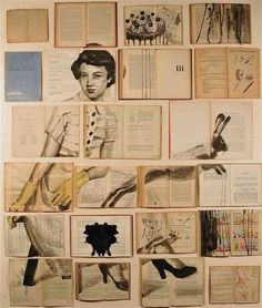 Russian artist Ekaterina Panikanova buys old books in bulk, flings open their pages then paints them with old-fashioned surrealist scenes Art Du Collage, Collage Book, Collage Making, Collage Design, Book Design Layout, Collage Ideas, Old Books, Vintage Books, Ink Illustrations