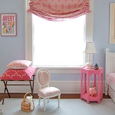 Blue and pink girls bedroom. Paint that small round side table for Mayleigh's room.