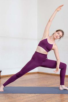 Model wearing the Jilla Om Yoga Bra and the Solid Balance Legging.  Ideal for low impact exercise such as yoga and Pilates. Ultra soft, sweat wicking fabric provides extra comfort and freedom of movement.