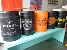 tambor decorativo metálico tok stok barril estampado retrô