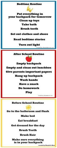 Back to school charts: Bedtime routine, After school routine, Morning routine. Having a routine makes children feel stability, where children who have no routine have more behaviors and feel insecure. After School Routine, School Routines, Morning Routines, Daily Routines, Bedtime Routine, School Tips, School School, Chores For Kids, Activities For Kids