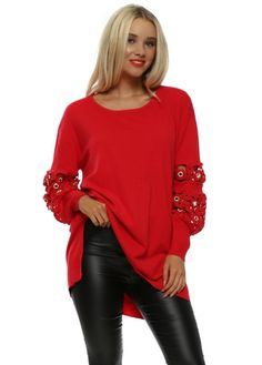 676ba67f04f Add a twist of glamour to your knitwear collection this season in this Laetitia  Mem red floral lace jumper.