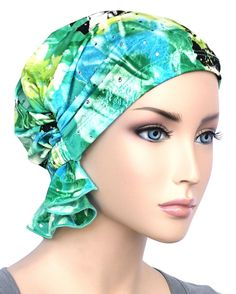 The Abbey Cap in Green Blue Water Floral Sequin