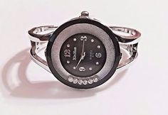 New Silver Black Floating Crystals Bangle Cuff Watch | eBay