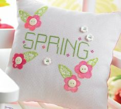 Spring Cross-stitched Cushion & Tag. Pillow