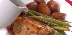 Honey Garlic Chicken – 1-½ pounds bone-in skin-on chicken thighs (about 6 to 8) – 1 pound red potatoes, halved – 1 pound baby carrots – 1 pound green beans – ½ cup soy sauce – ½ cup honey – 1-½ tsp dried basil – ½ tsp chili flakes – ½ tsp black pepper – 8 cloves garlic