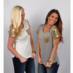 [[Sequins Alert! ]] Call attention to your strong sense of style with our Day Darling Top! It's a perfect tee to wear to the baseball games!  Also available in pink and natural! Now available in store AND online! Hurry over to our site! #HappyShopping #OnlineShopping #Boutique #Love #Sequins #SequinTee www.VirgoBoutique.com