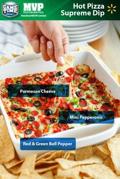Looking for a tailgating recipe or a perfect snack for watching football? This cheesy Hot Pizza Supreme Dip combines two classic football favorites. Serve with tortilla or pita chips. It's loaded with the savory flavors you love like onions, Pizza Dip Recipes, Appetizer Recipes, Snack Recipes, Appetizers, Cooking Recipes, Tailgating Recipes, Tailgate Food, Good Food, Yummy Food