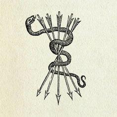 Another arrow tattoo - 'Don't tread on me' snake Kunst Tattoos, Neue Tattoos, Esoteric Art, Occult Art, Snake Tattoo, Tattoo Art, Love Symbols, Larp, Traditional Tattoo
