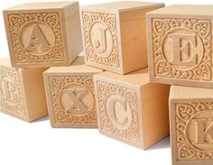 Alphablank Uppercase Blocks - Classic Embossed Alphabet Blocks Made In The USA From Sustainable Wood