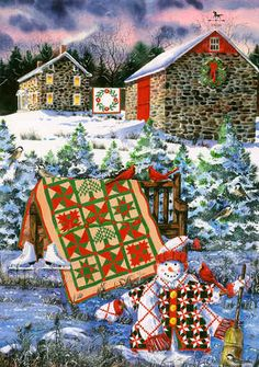 Christmas Cheer by Diane Phalen- Love the quilt display and on the snowman.